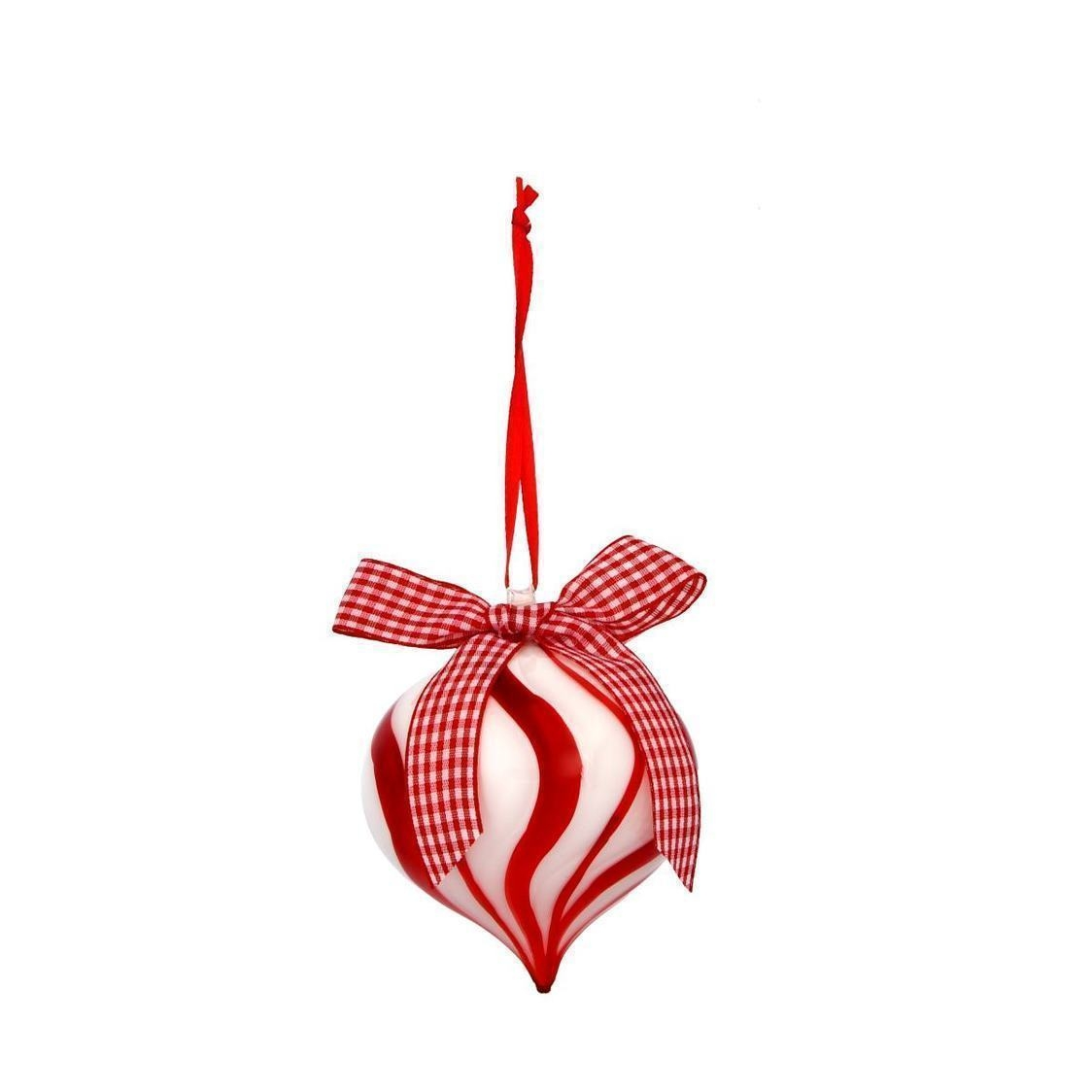 Glass Ball Onion shaped Ornament WhiteRed
