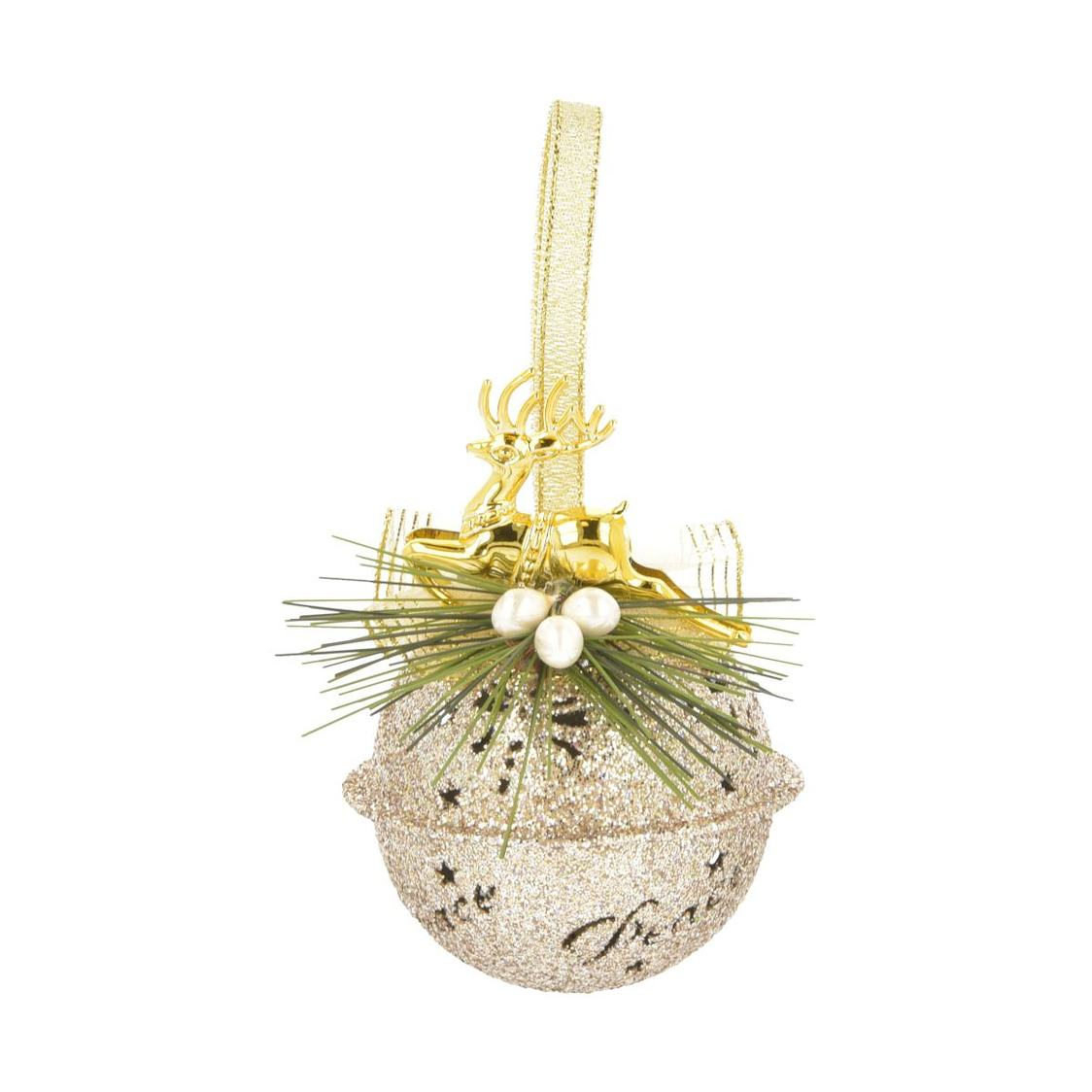 Deer Gold Glitter Jingle Bell Ornament