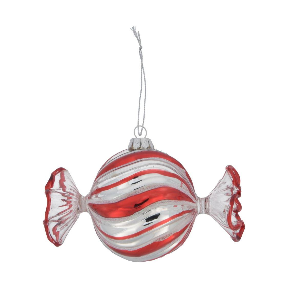 Glass With Mica Candy Ornament Red