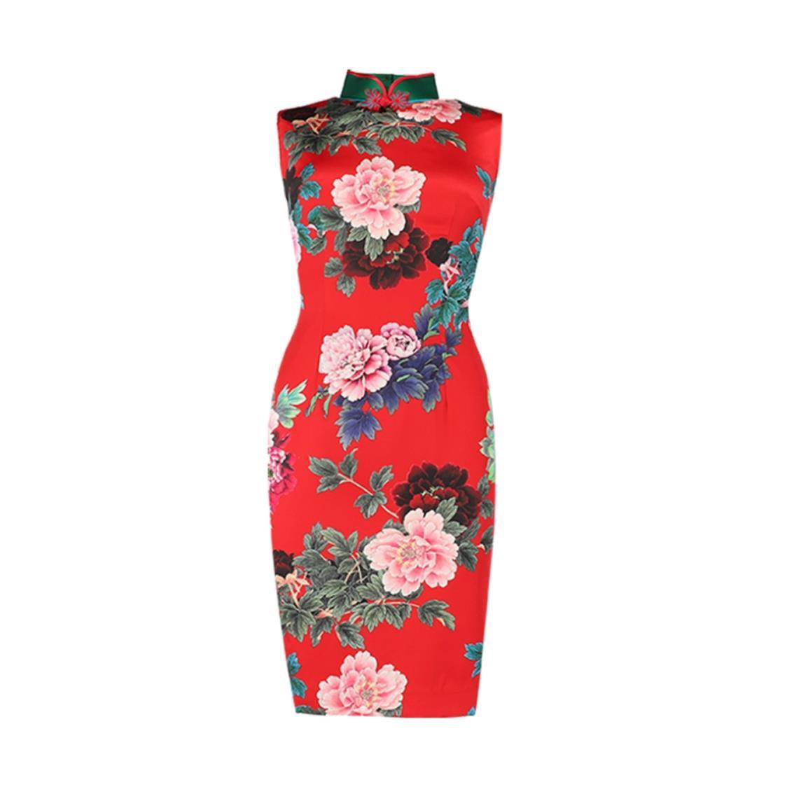 Red Peony Print Stretch Silk Cheongsam with Handmade Bi-color binding  Chinese button
