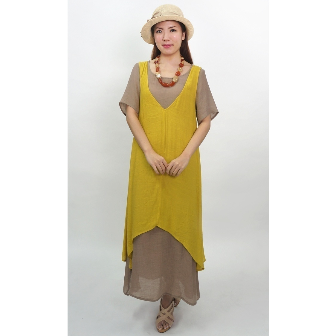 Linen Layered Greenish Mustard Dress