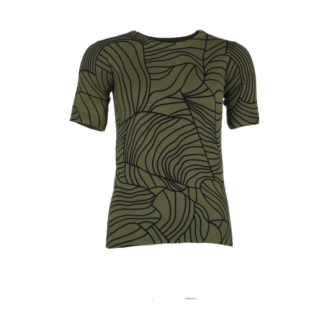 Green Printed Short Sleeve Knitted Top