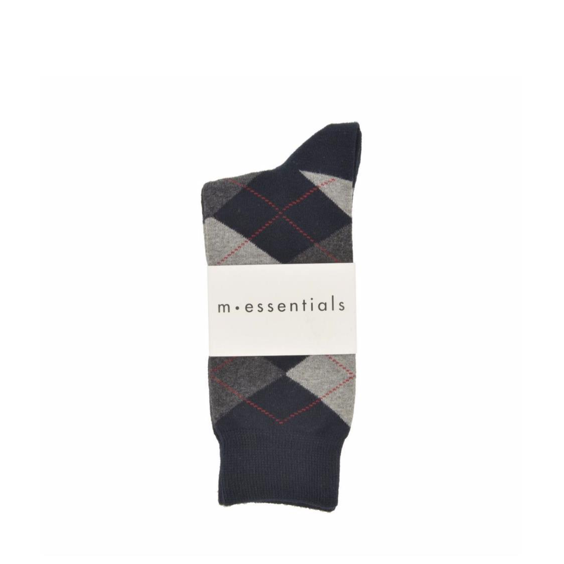 Mens Navy Long Socks With Grey Argyle Pattern
