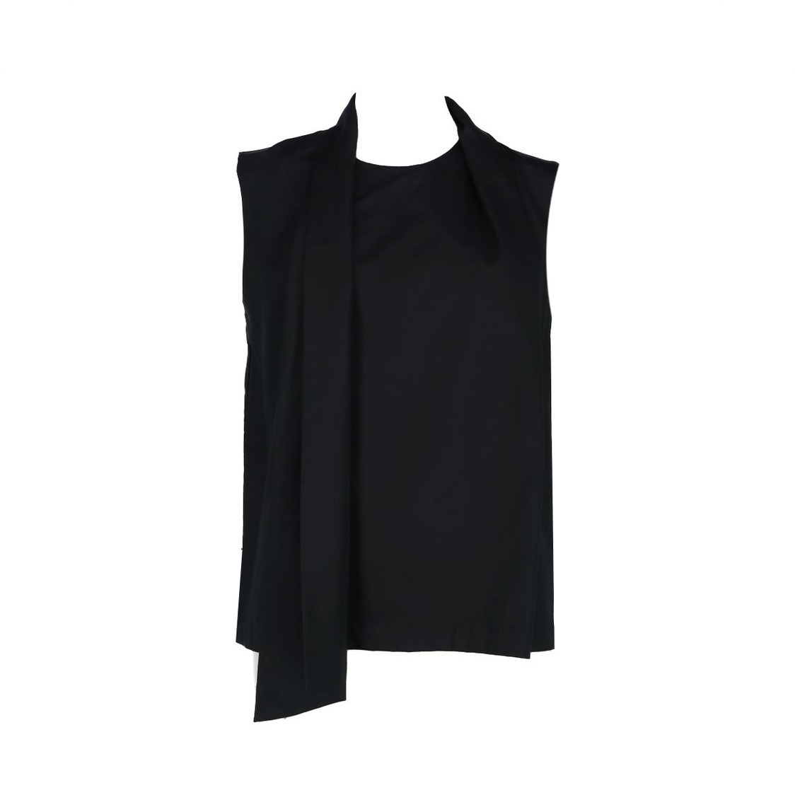 Sleeveless Top With Shawl Detail Black