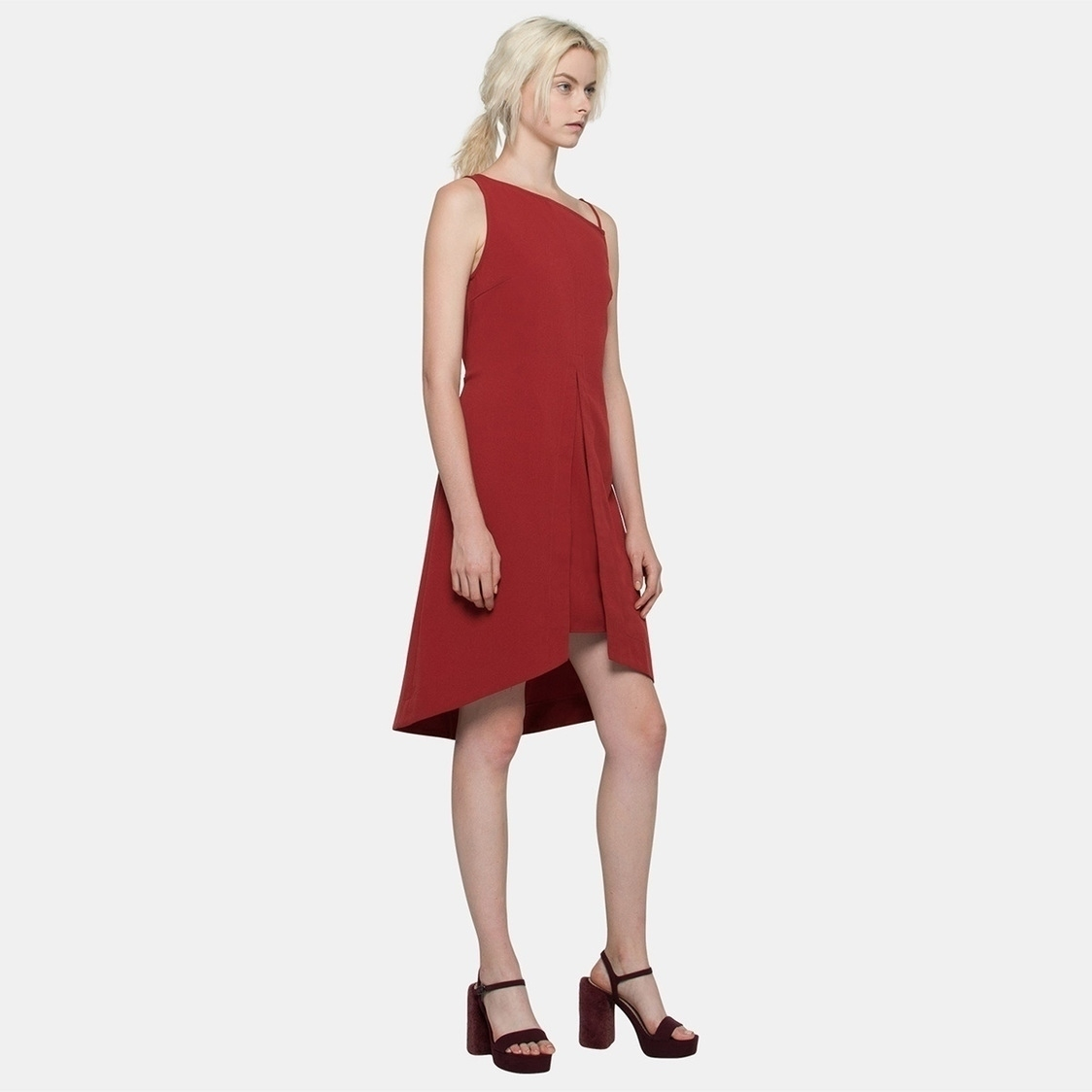 Layered Toga Dress in Red