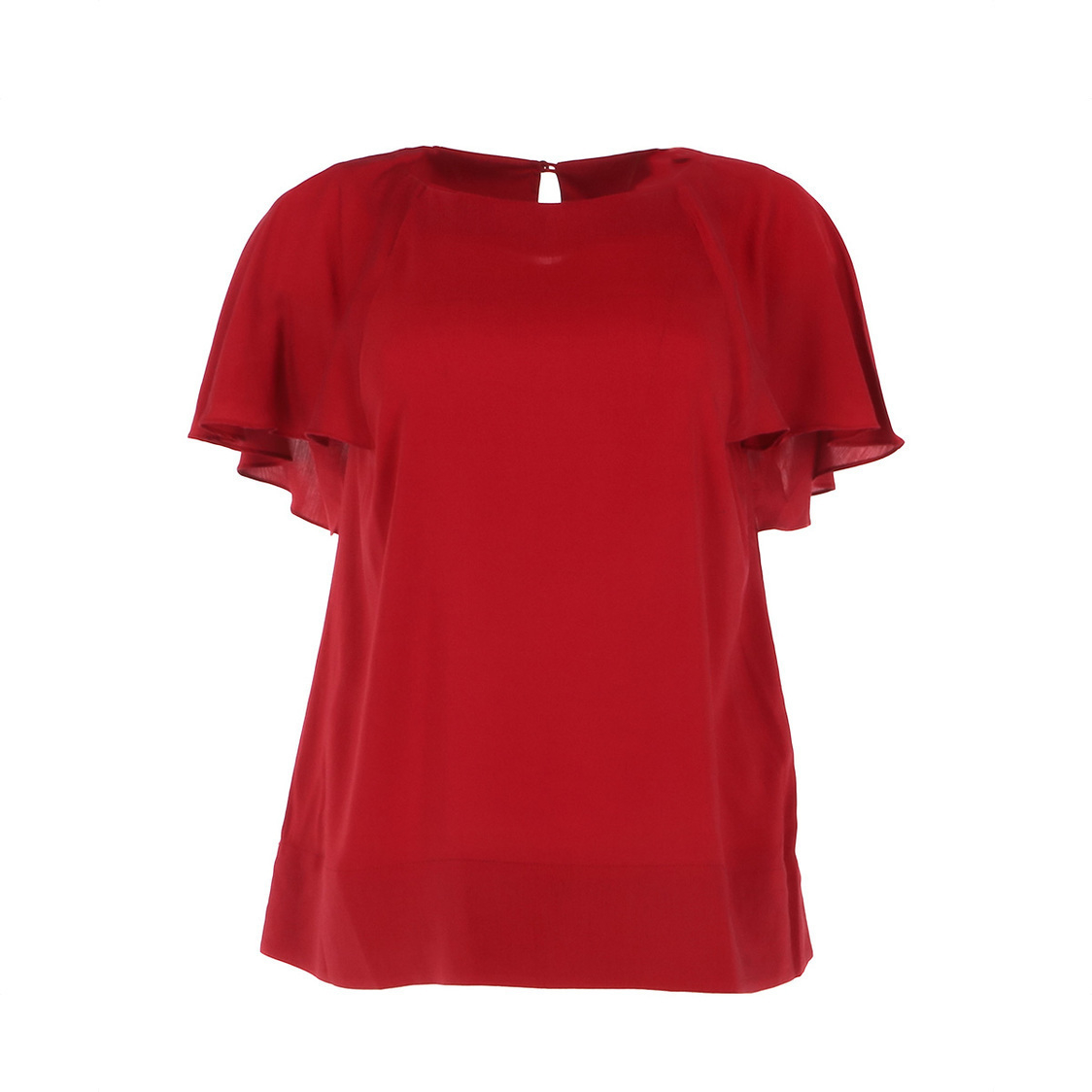 Super Soft Cape Sleeve Top in Red
