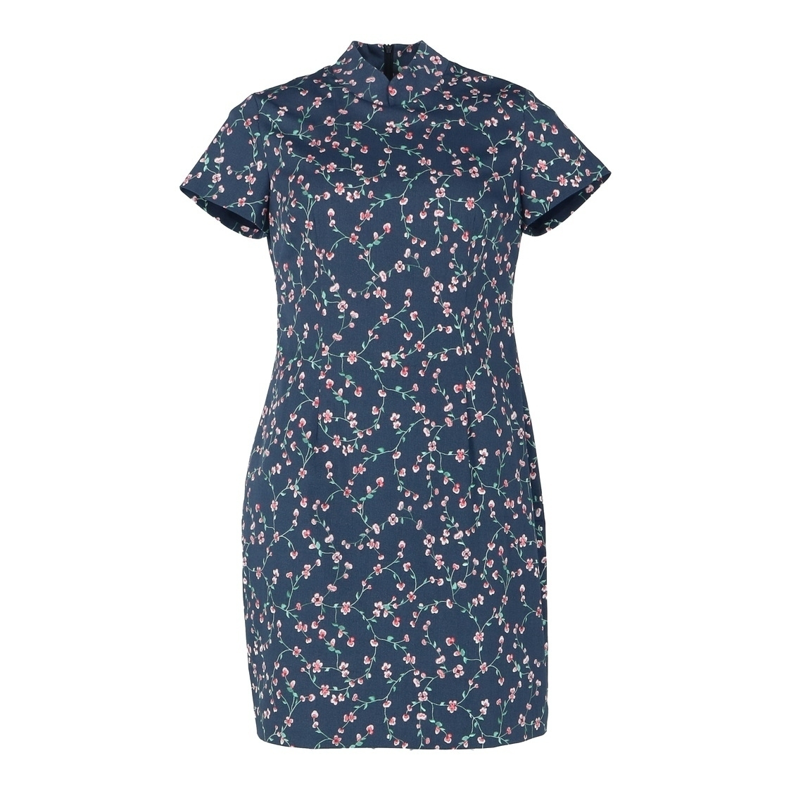 Cheongsam Short Sleeve Floral Printed Dress