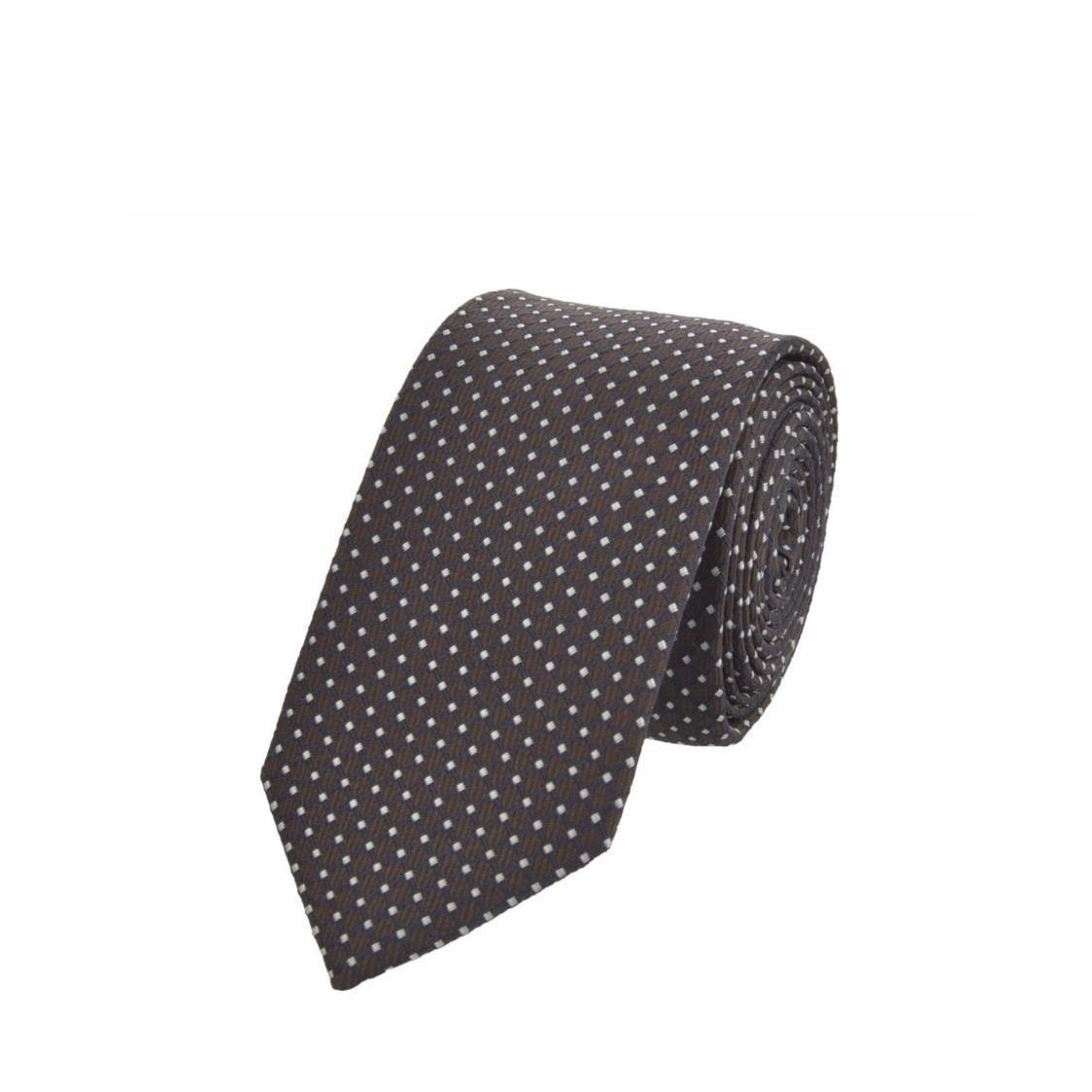 Jacquard Silk Tie In Navy with White Square