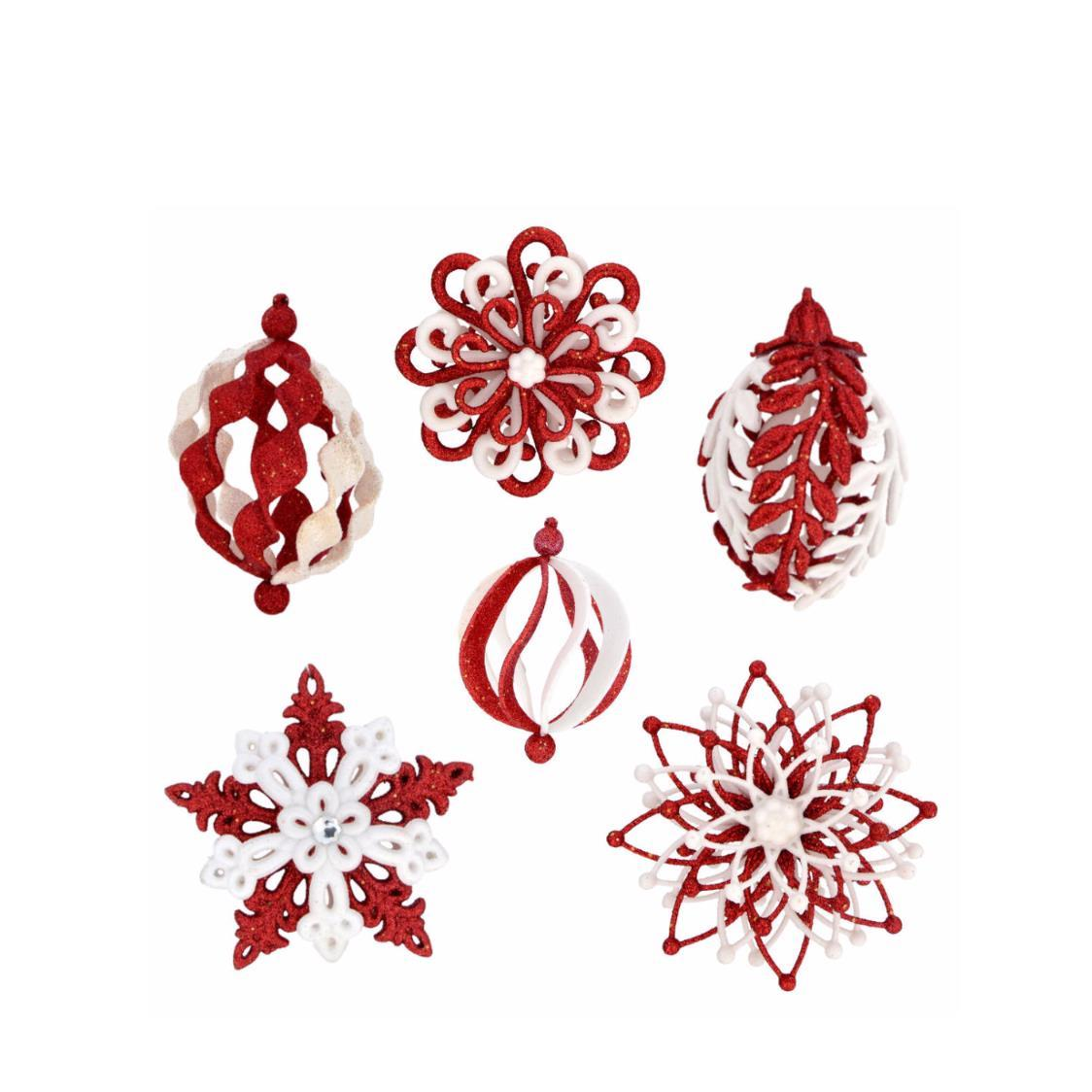 Set of 6 Assorted Baubles Red  White