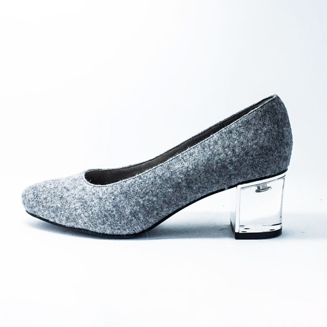 25 Round-Toe Clear Heel - Grey Textured
