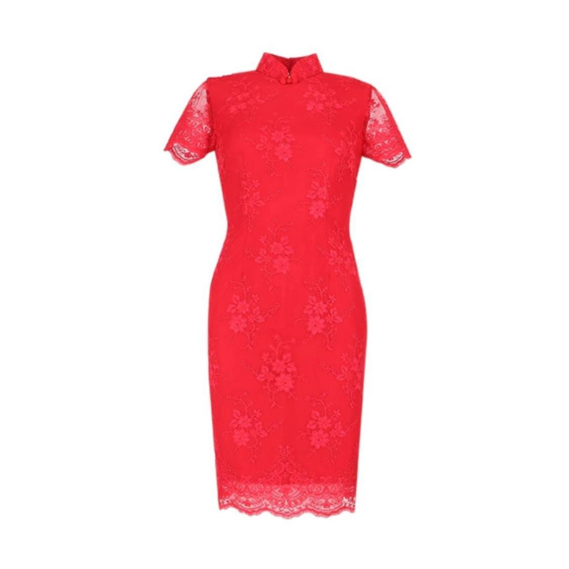 Red Cord Lace Cheongsam