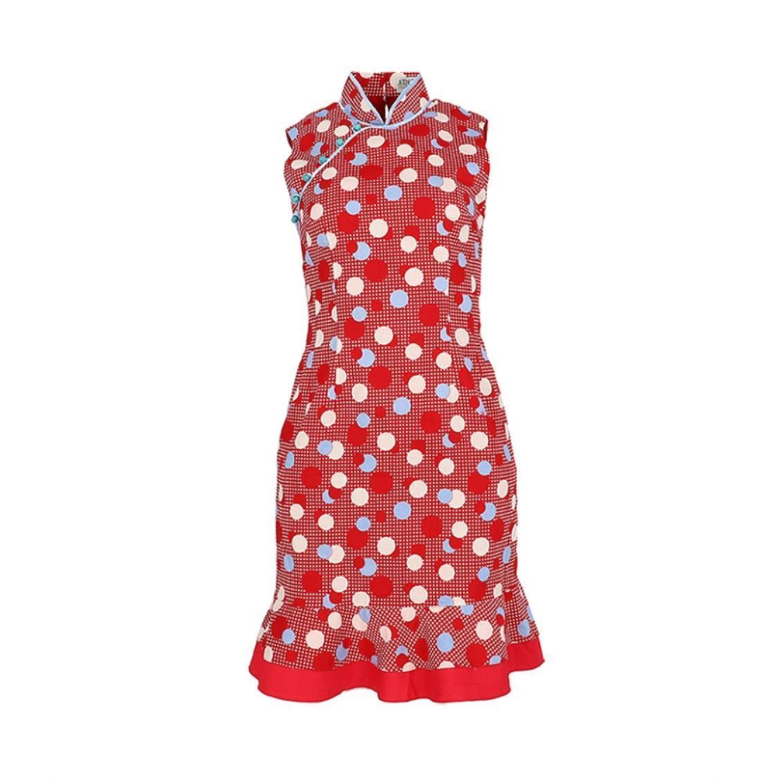 Japanese Cotton Tri-color Polka Dot Cheongsam with Turquoise Bottoms  Red Flounce Hem