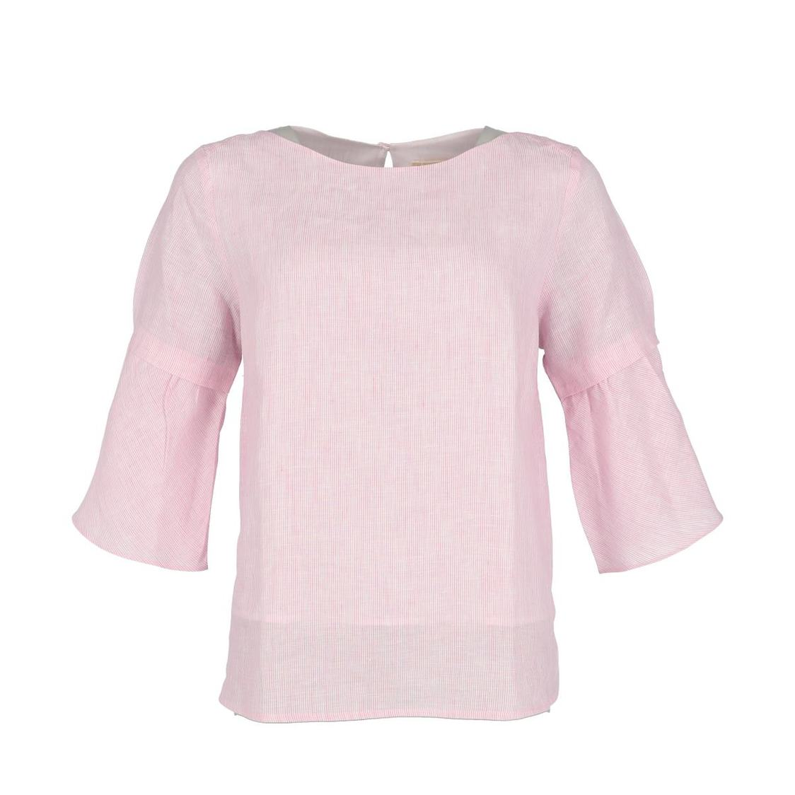 Flare Sleeve Pink Linen Top