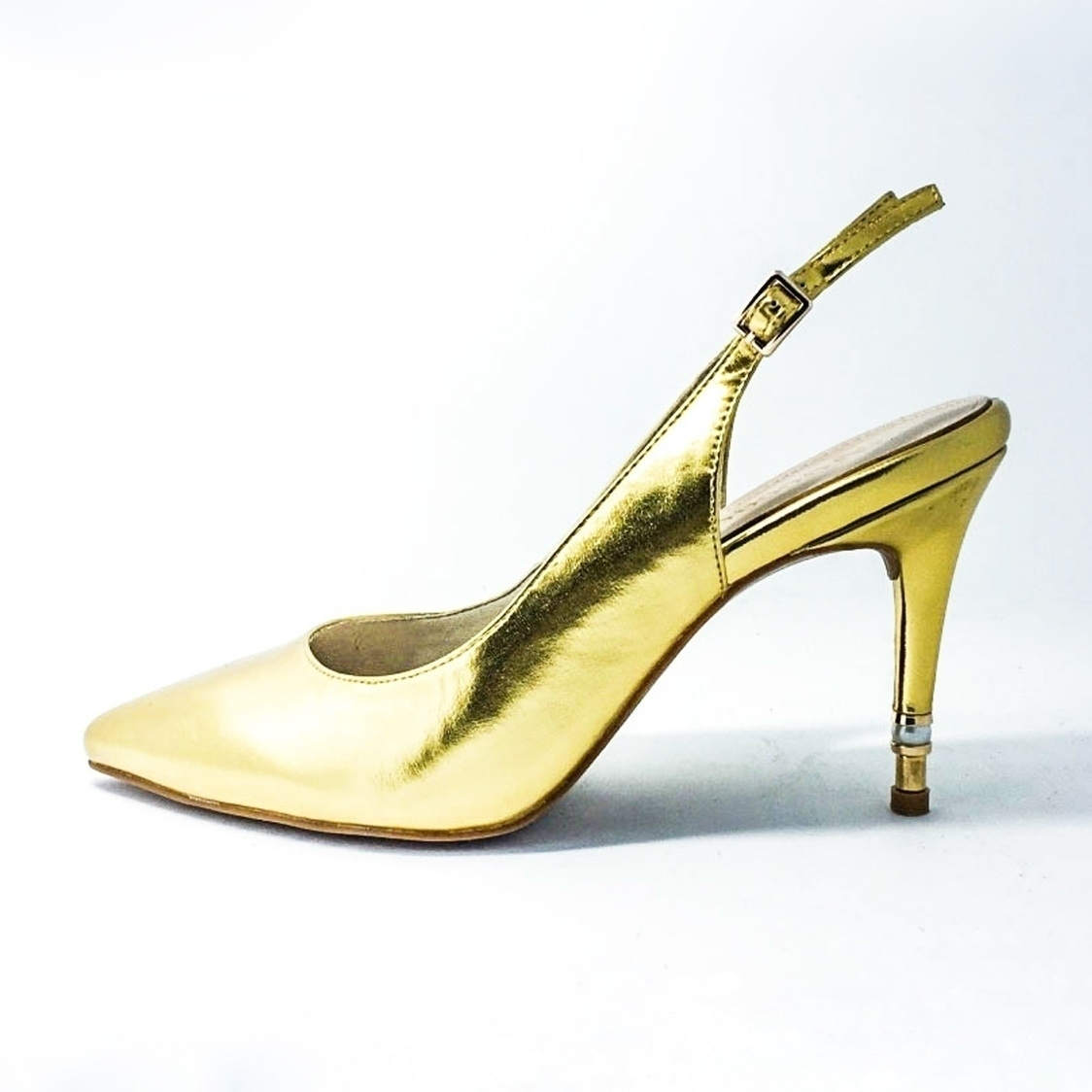 3 Pointed-Toe Sling Back - Gold