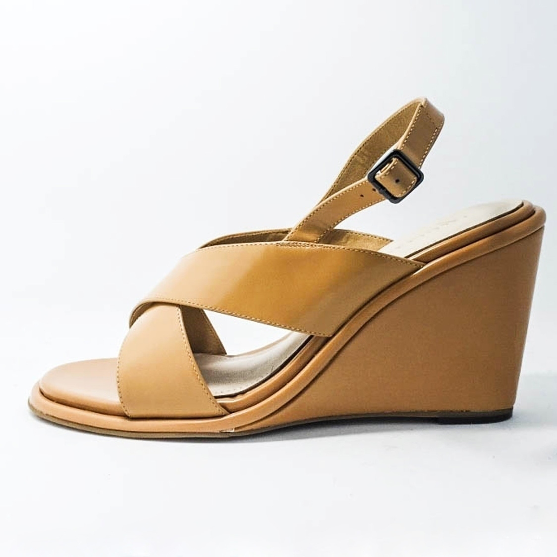 Box Leather Wedge Sandal - Camel