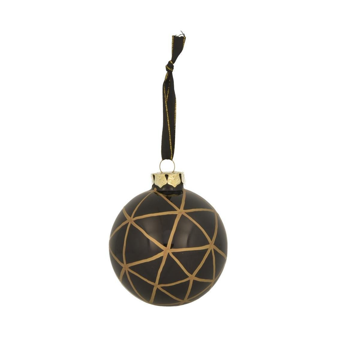 Decoration Black And Gold Stripes Baubles