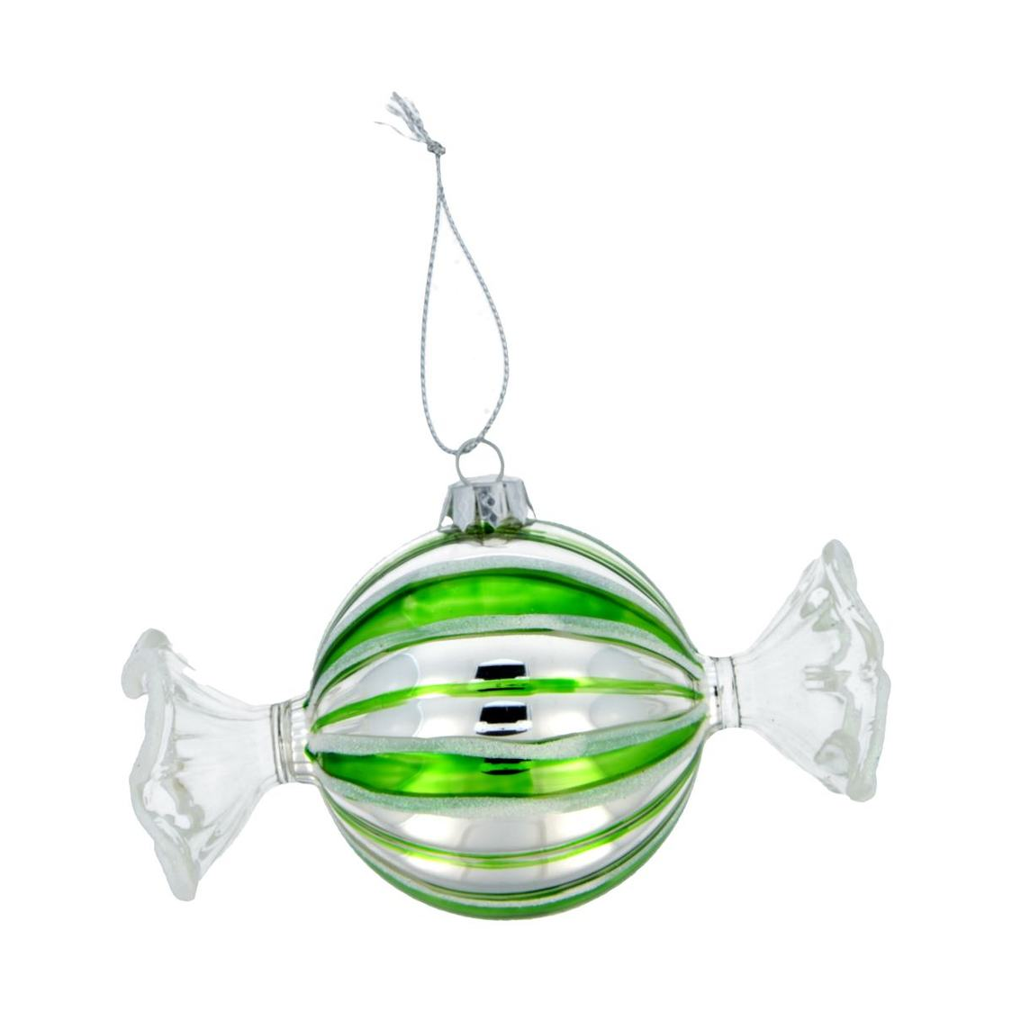 Glass With Mica Candy Ornament Green