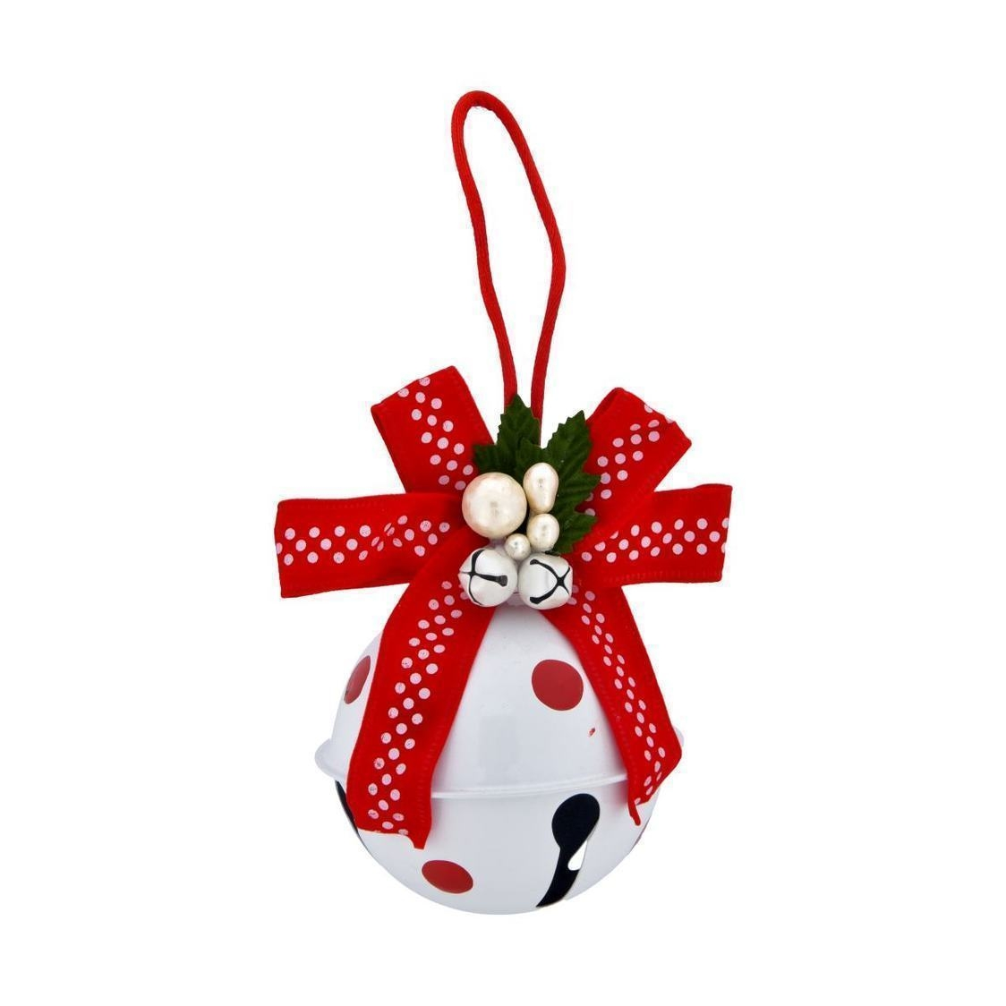 Jingle Bell Ball With Bow Ornament White