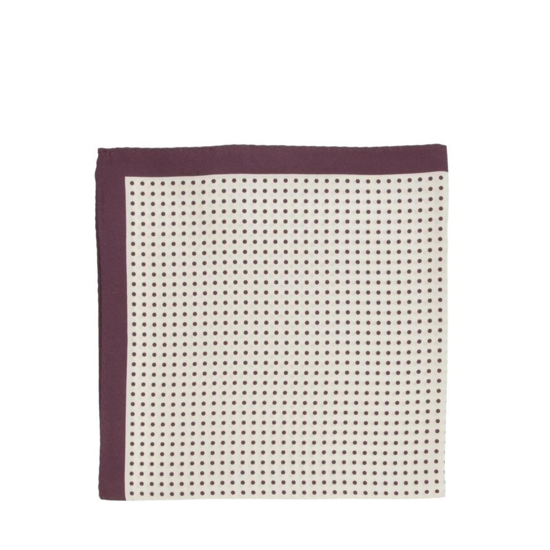 Italian Pocket Square Maroon Poka Dots