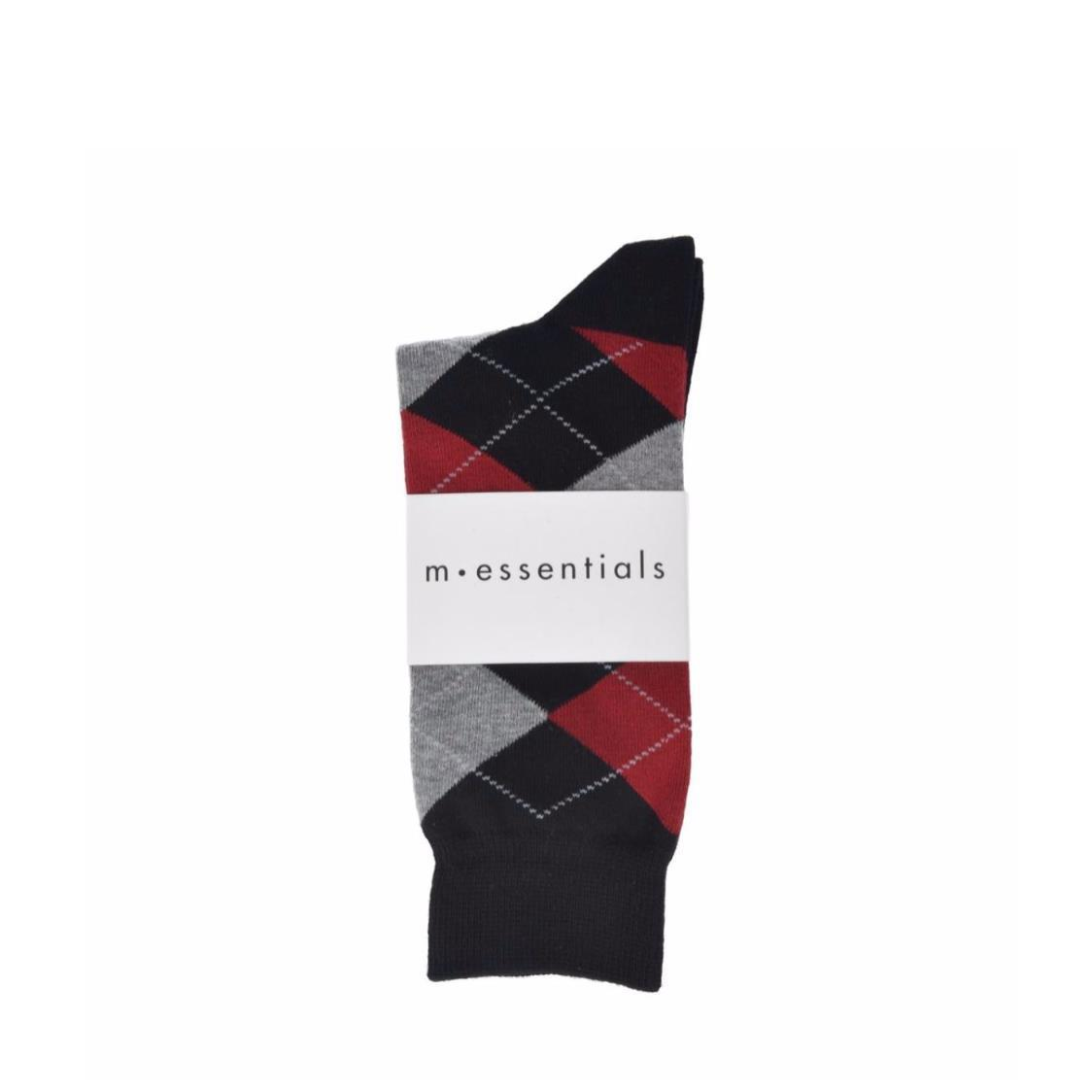 Mens Black Long Socks With Grey and Red Argyle Pattern