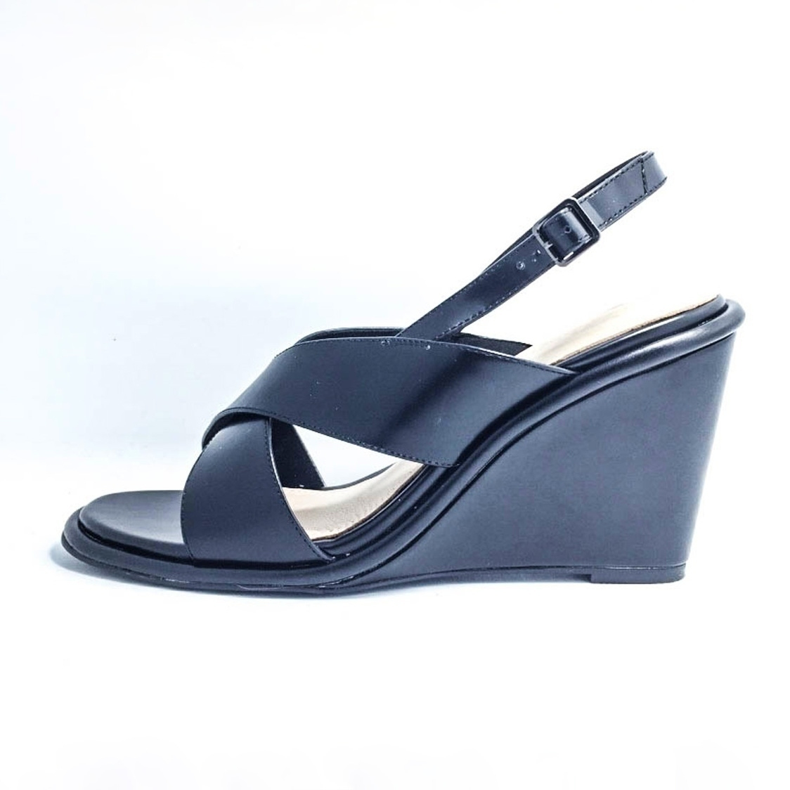 Box Leather Wedge Sandal - Black