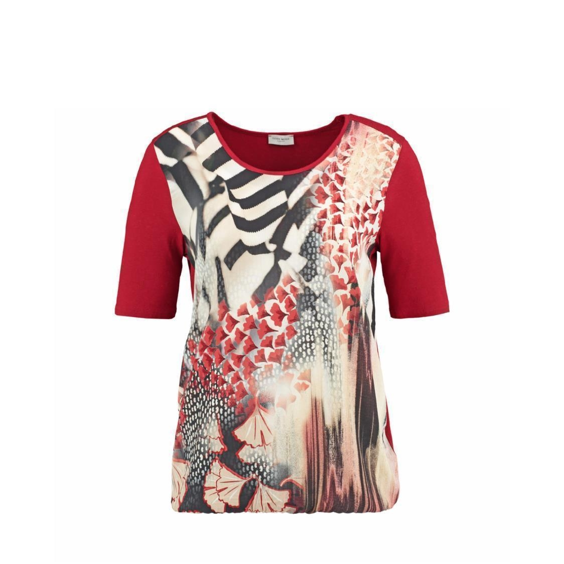 Top with Short Sleeve Panelled Pattern