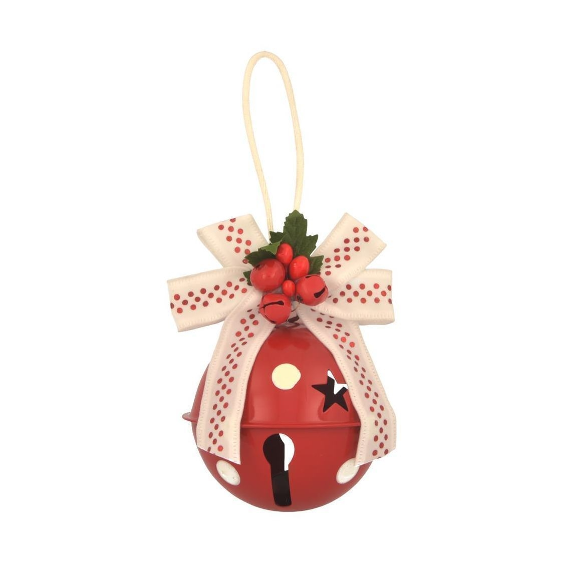 Jingle Bell Ball With Bow Ornament Red