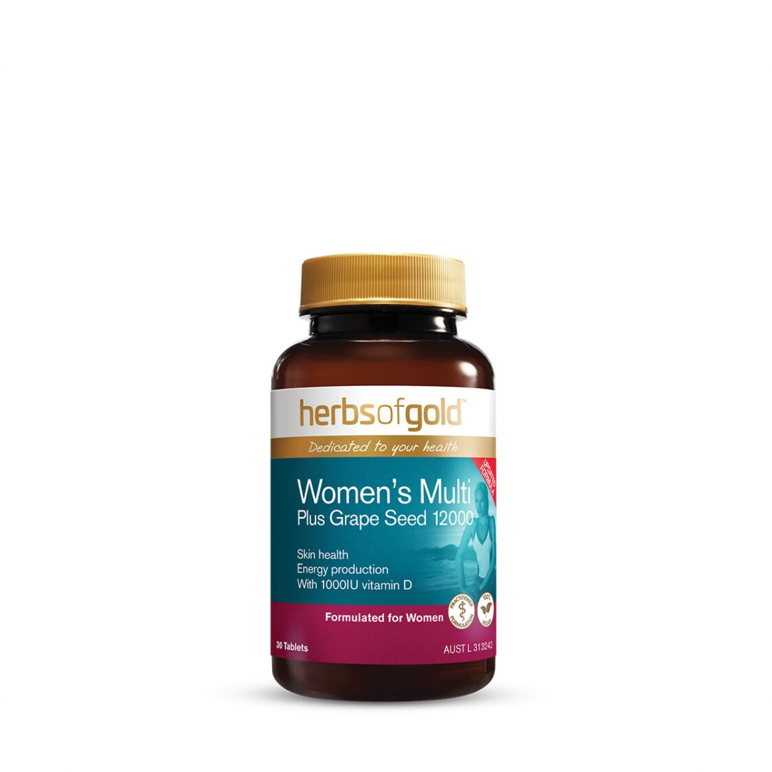 Herbs of Gold Womens Multi Plus Grapeseed 12000 30 Tablets