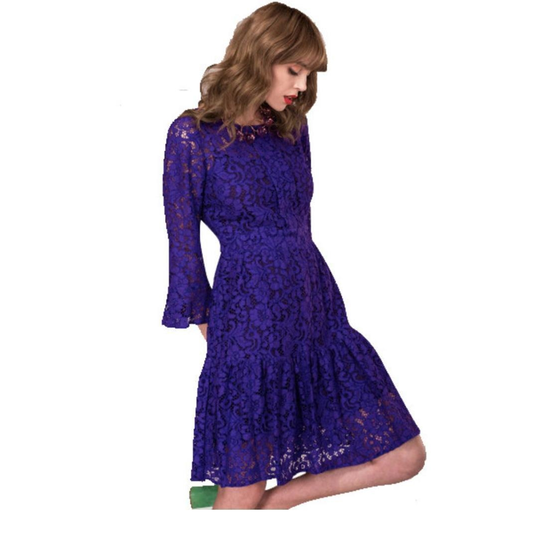 Lace Full Skirt Dress Purple