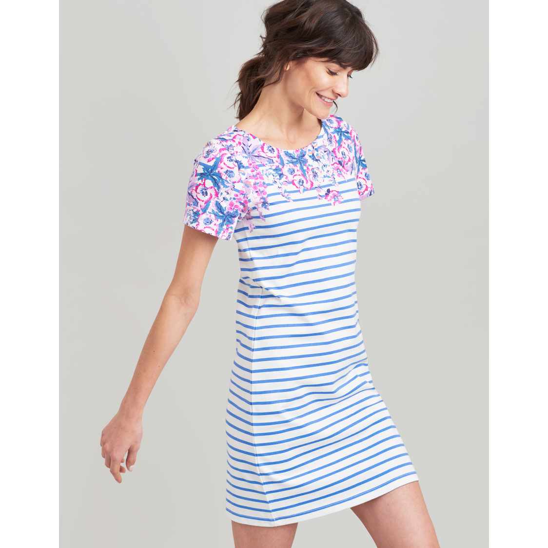 Riviera Print Dress With Short Sleeves Blue Floral Stripe