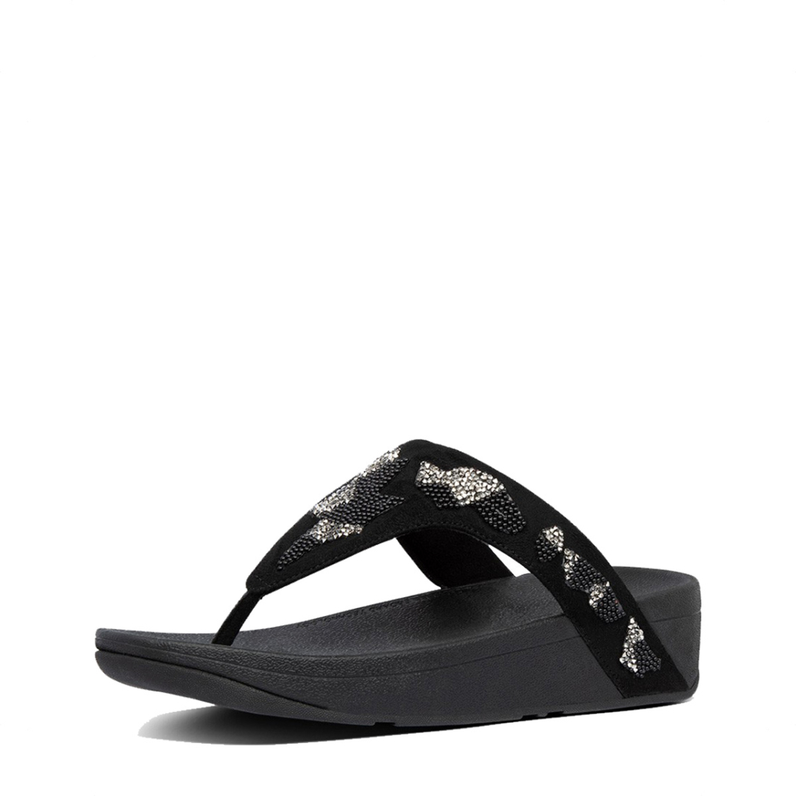 Fitflop Lottie Patchwork Toe-Thongs Black Mix
