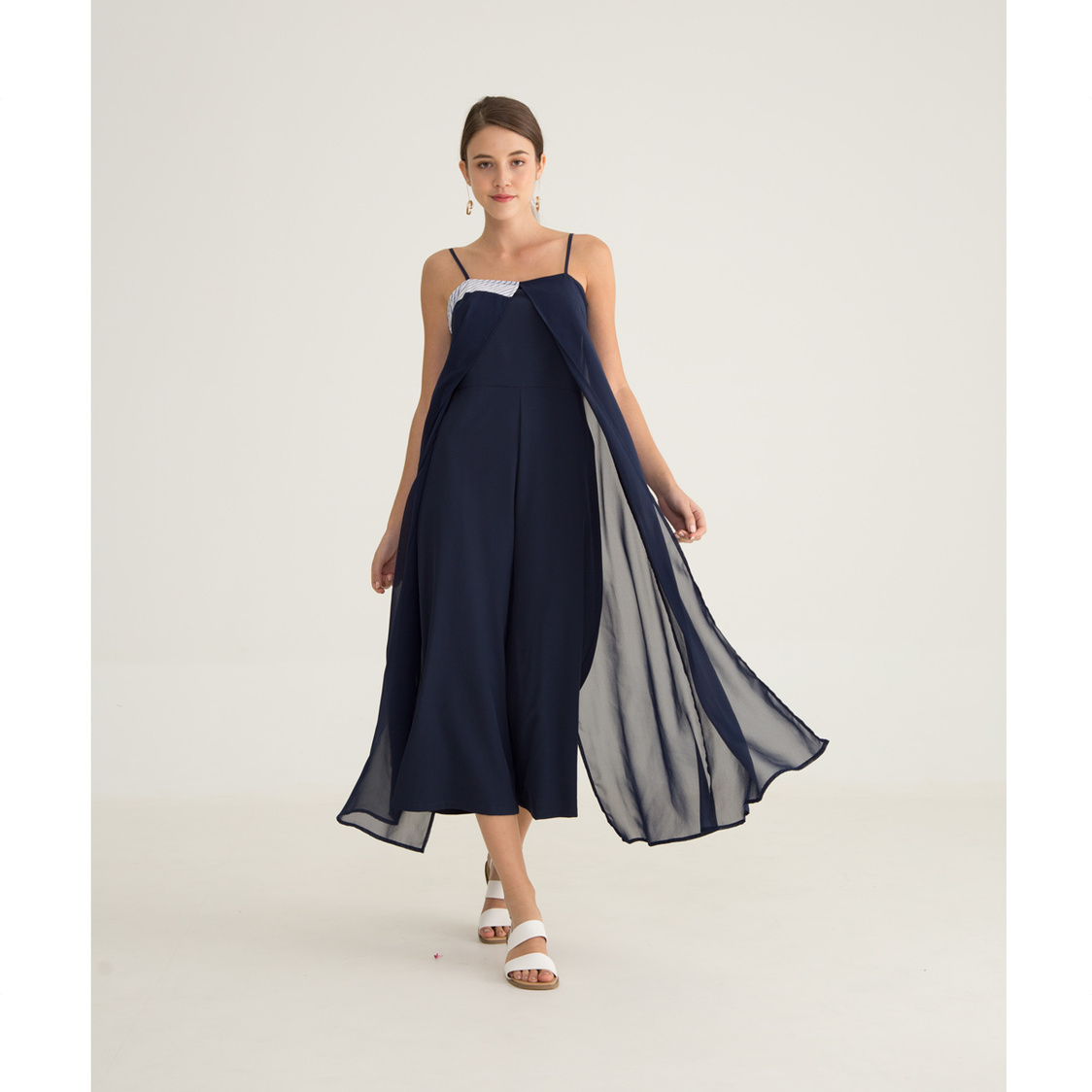 Yacht 21 Aimy Luxe Overlay Jumpsuit In Navy Blue