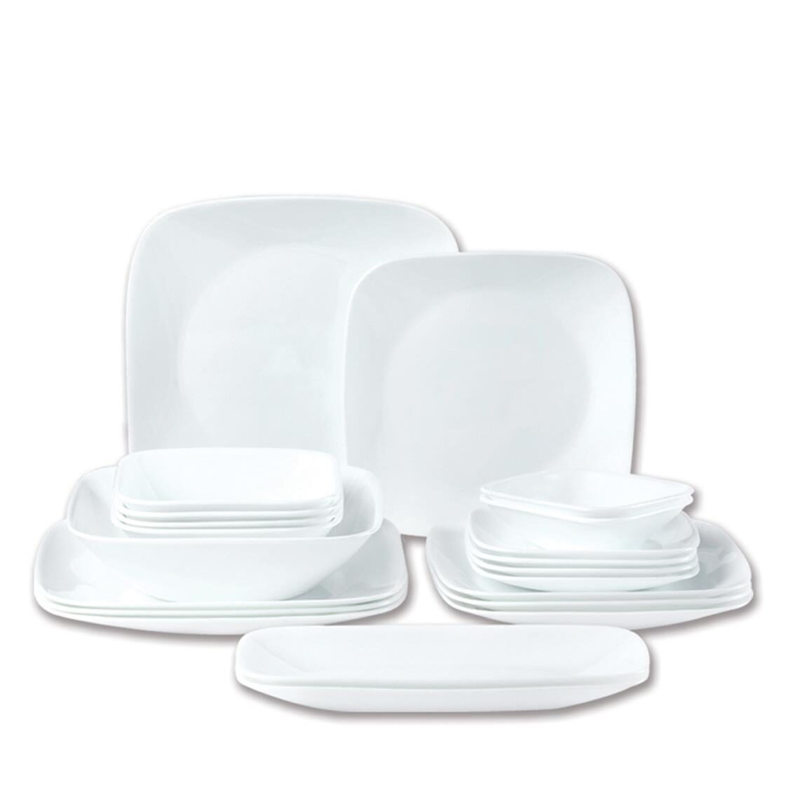 21pc Square Round Dinner Set Winter Frost White
