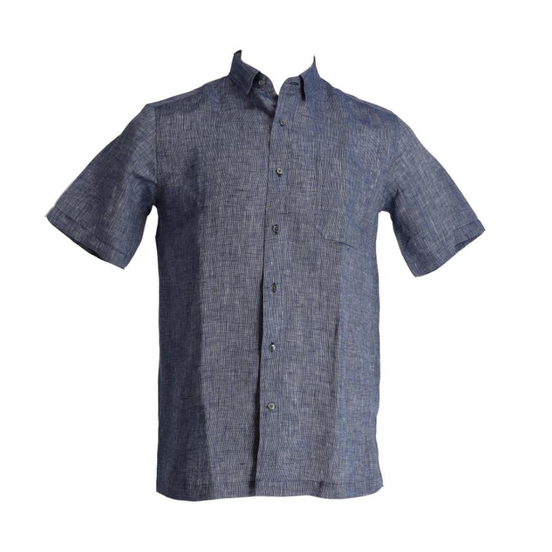 Mens 100 European Linen Short Sleeve Tailored Fit Shirt With Contrast Collar Lining Navy