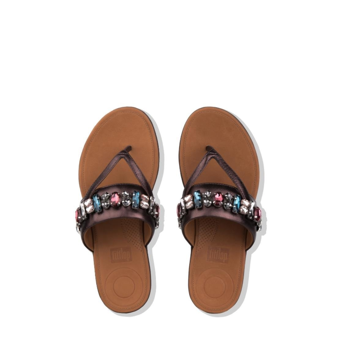 Delta Bejewelled Leather Toe-Thongs Berry