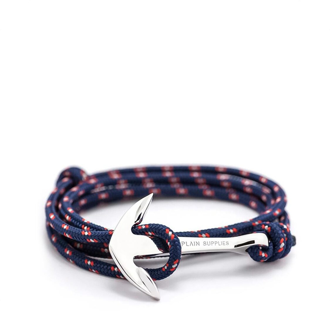 Silver Anchor Bracelet  Navy Rope