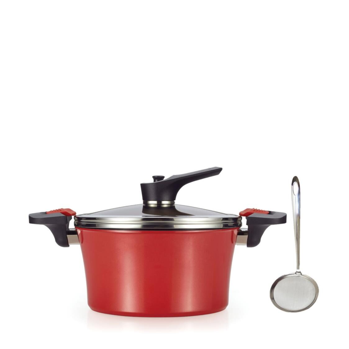 Happycall Red Addiction IH Vacuum 24cm46L High Stock Pot Made in Korea 3003-1126 Free Endo Oil Separator Worth 1990