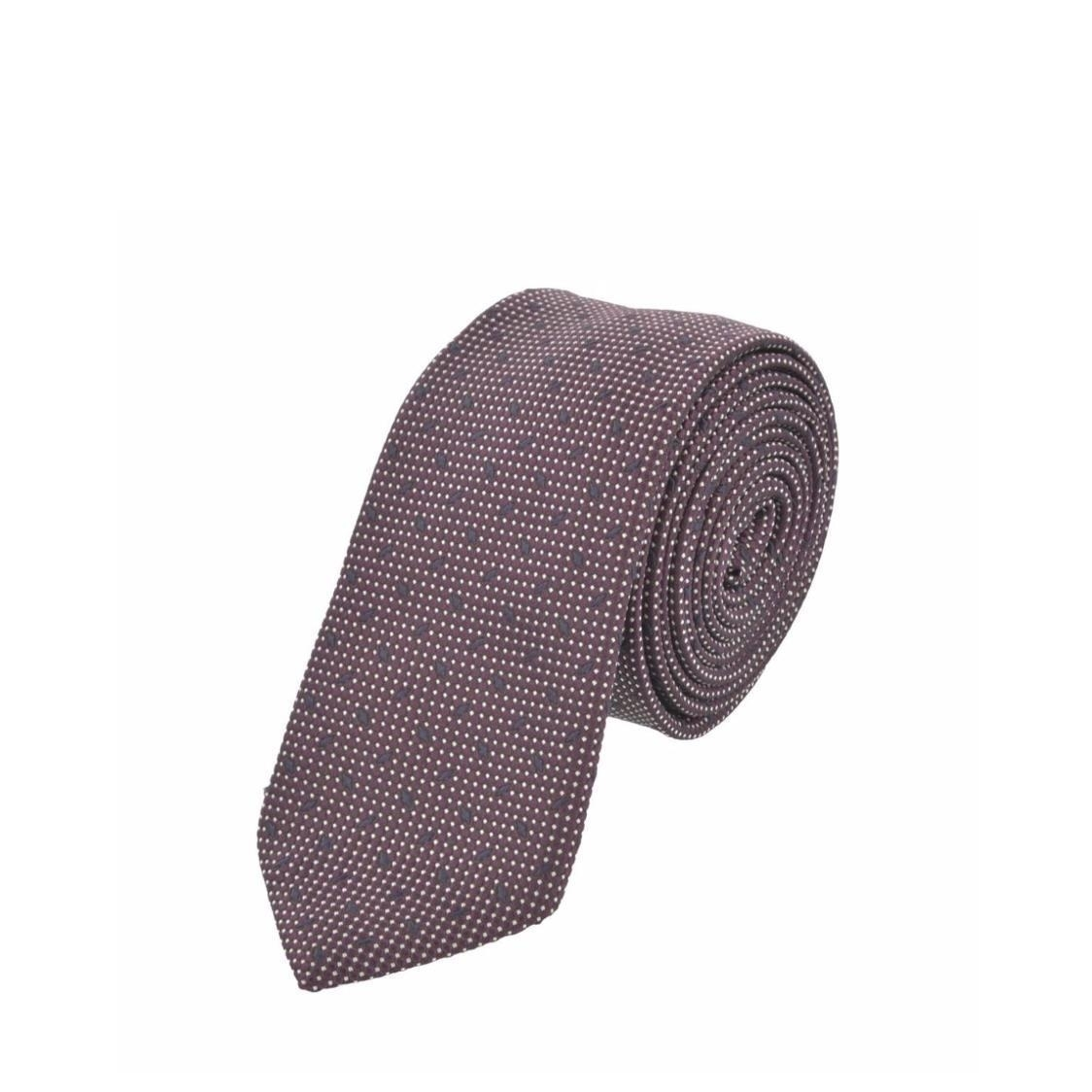Jacquard Silk Tie In Light Maroon with Grey Dots