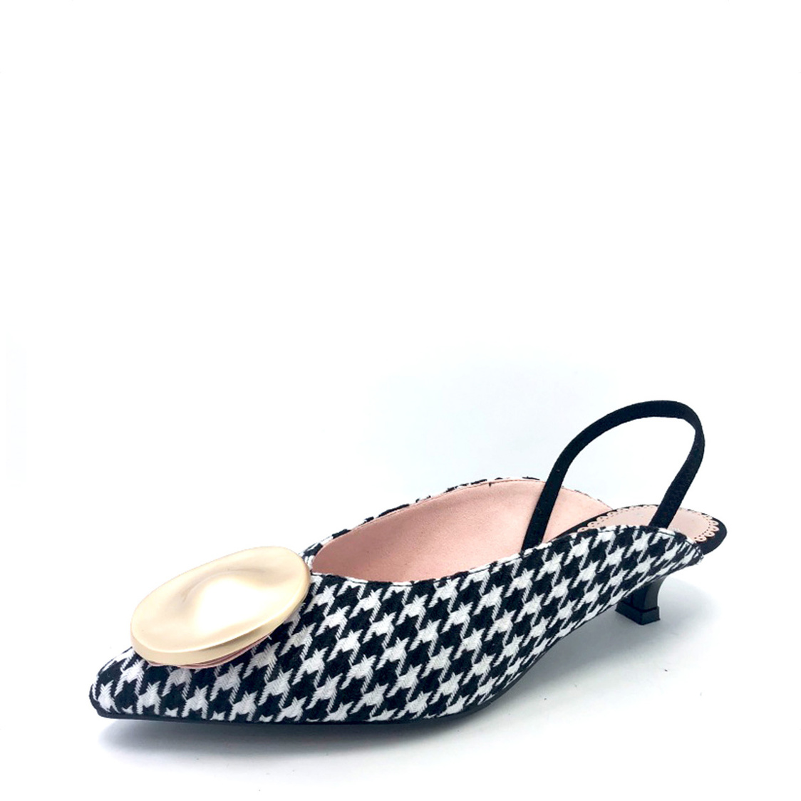 Slingback Courtshoes with Brooch WhiteBlack Plaids