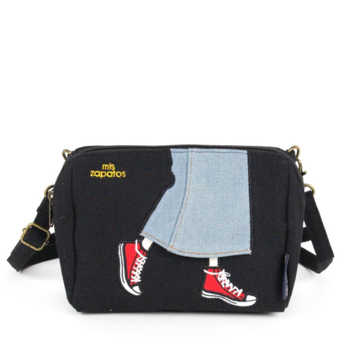 2-Way Use Jeans Skirt with Sneakers Slingbag Black