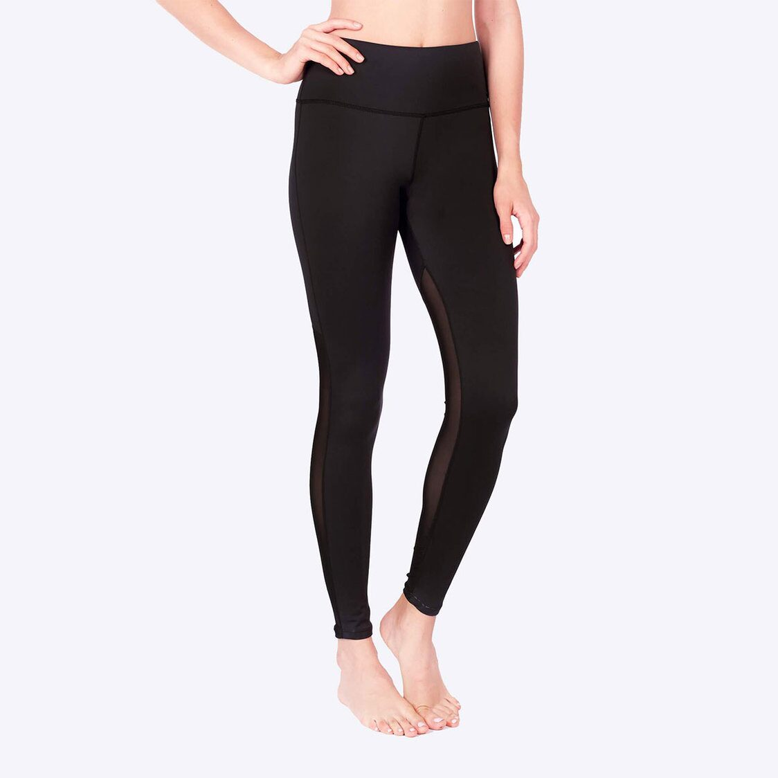 LIMITLESS Back Mesh Leggings with Keeperband in Black