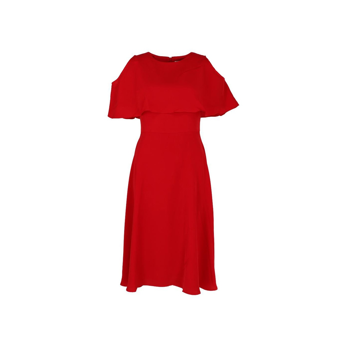 Cape Detail Fit  Flare Dress Red