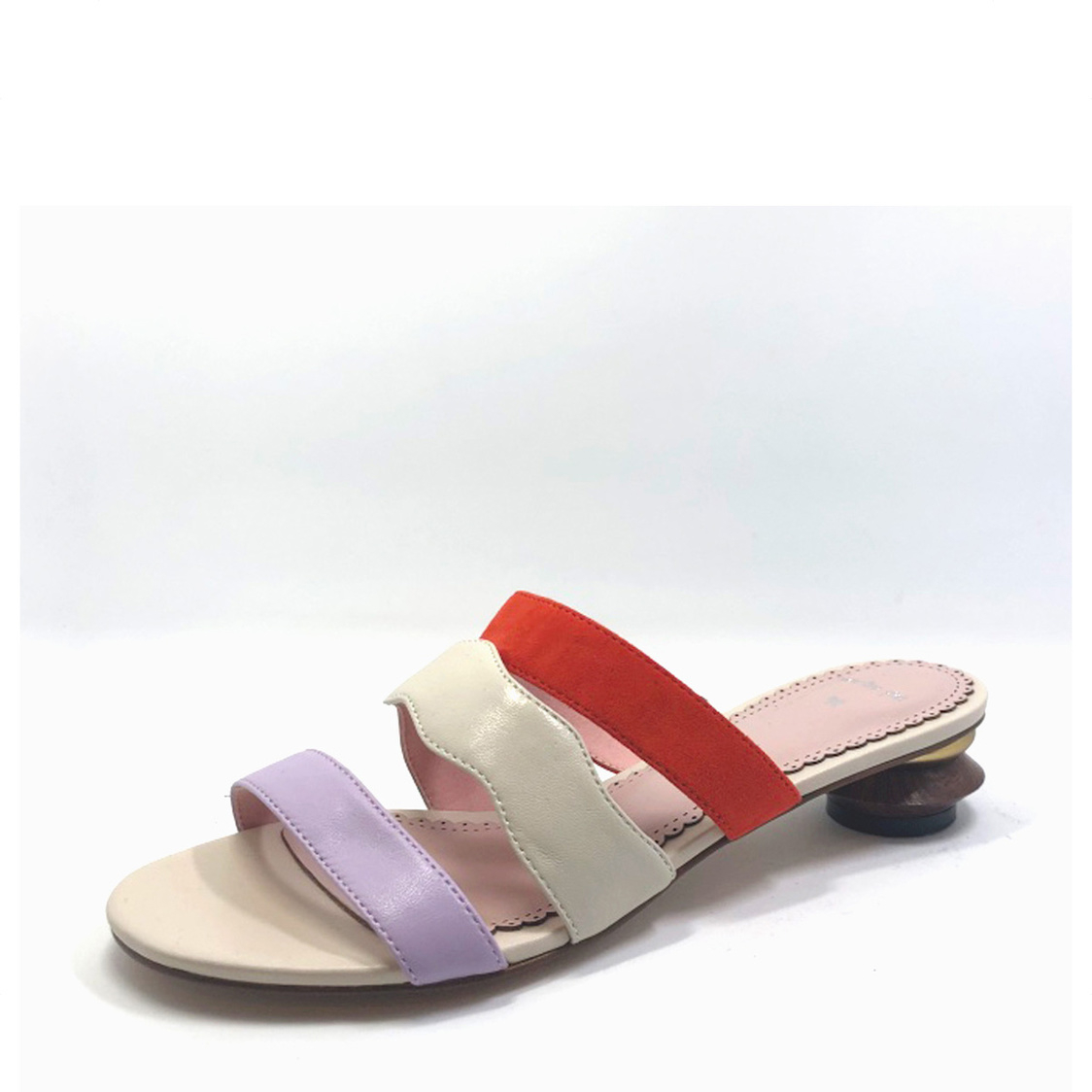 Colorblock Slip-On with Stacked Heel Crme