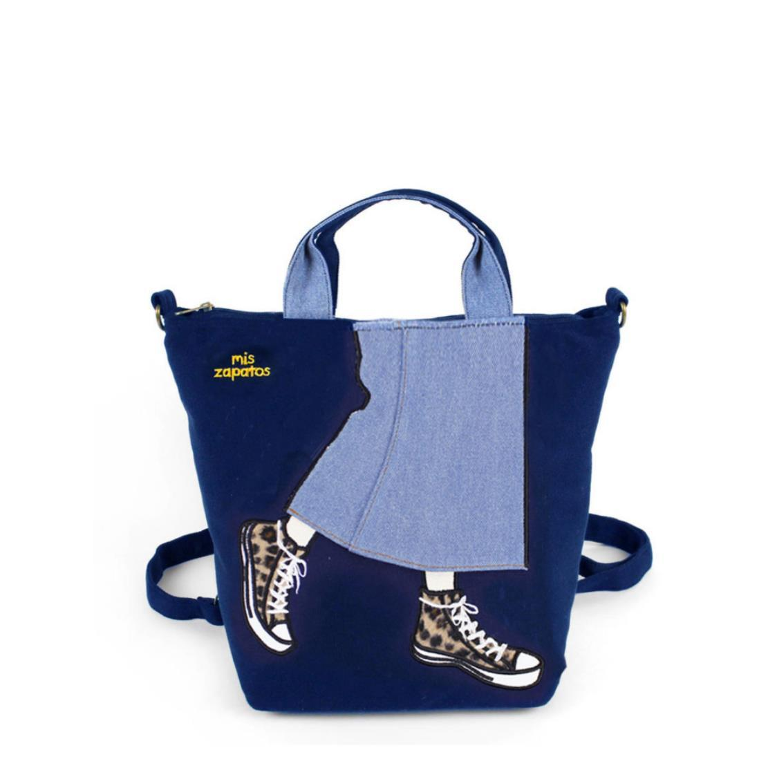 3-Way Use Jeans Skirt with Sneakers Handbag Navy