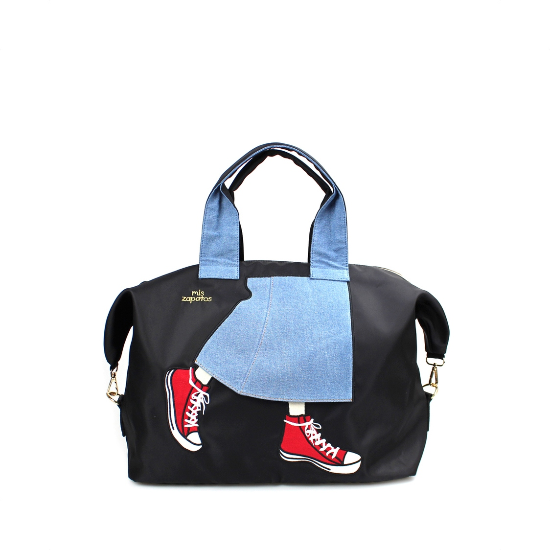 2-Way Use Jeans Skirt With Sneakers Travel Bag Black