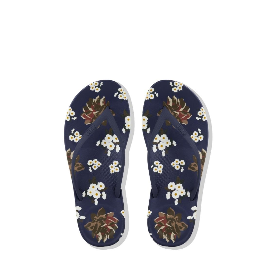 iQushion Dark Floral Ergonomic Flip-Flops Royal Blue