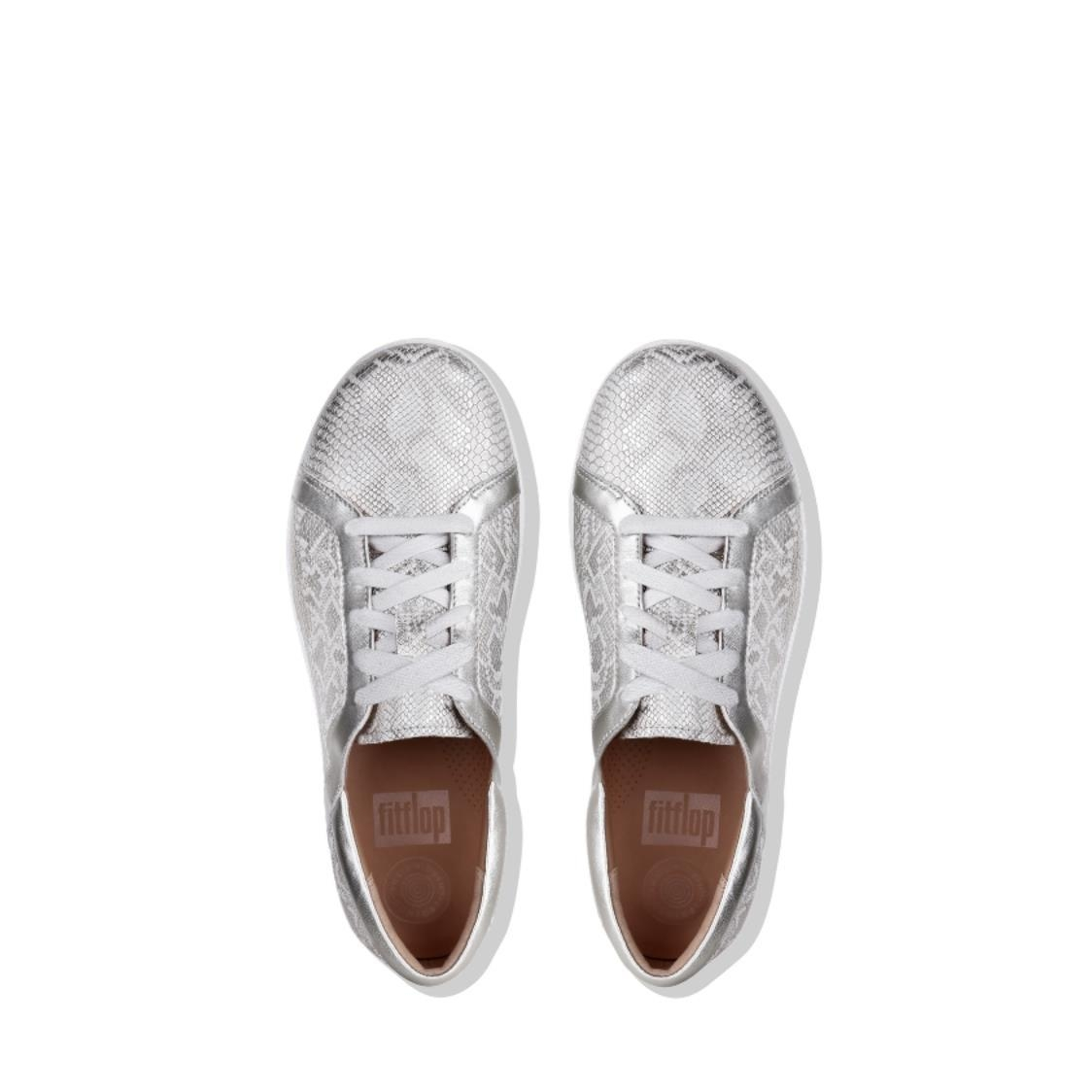 F-Sporty II Python-Print Leather Lace-Up Sneakers Urban White