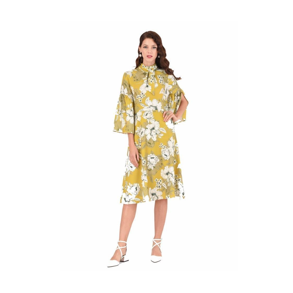 Lime Floral Trumpet Sleeve A-line Midi Dress