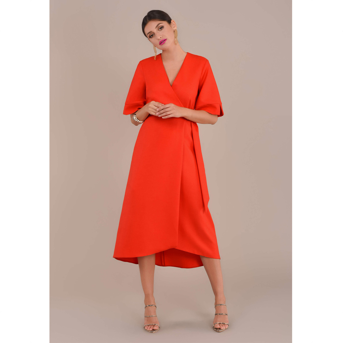 Orange A-Line Wrap Dress with Bell Sleeves