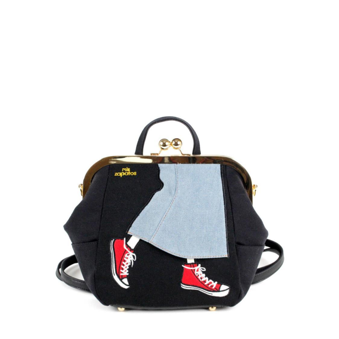3-Way Use Jeans Skirt with Sneakers Handbag Using Ball Clasp Closure Black